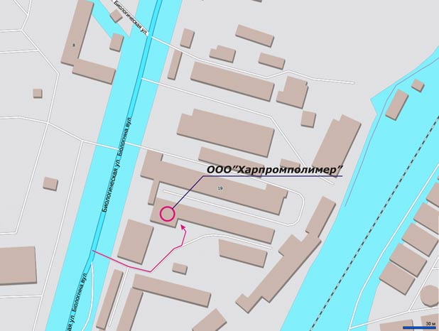 """Розташування ТОВ """"Харпромполімер"""" - мапа"""